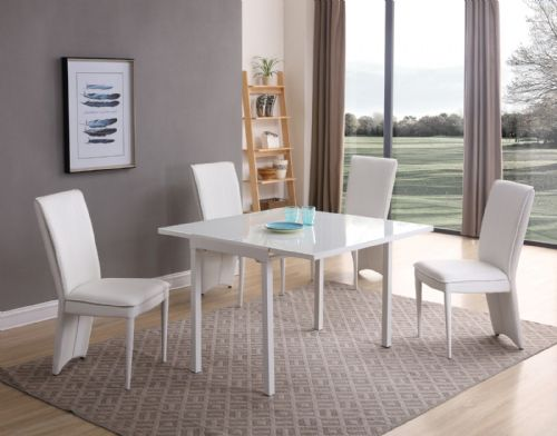 GA Milano White Glass Compact EXTENDING 55 / 110 cm Table & Chairs - 4 Colours